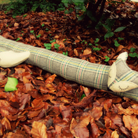 Long fox. A tartan fox draught excluder made from pure wool.  104cm in length.