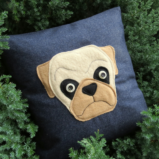 The charismatic pug.  A dog cushion, complete with feather pad.