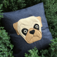 Sale cushion!   Pug cushion, complete with feather pad.  Dog Pillow.
