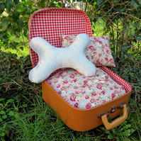 A quirky pet bed made from a 1960s vanity case.  For a handbag dog or small cat.