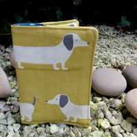Long dog.  A passport sleeve with a long dog design.  Passport cover.