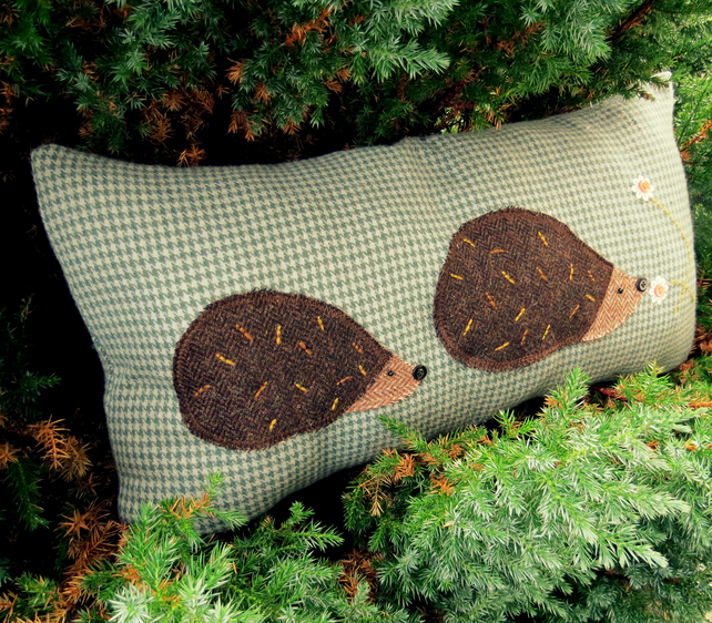 Hedgehogs.  Sale!  A  wool cushion with tweed hedgehogs.  57cm x 30cm.