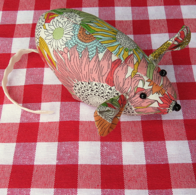 Little mouse.  A pin cushion made from Liberty Lawn.  Sewing gift.