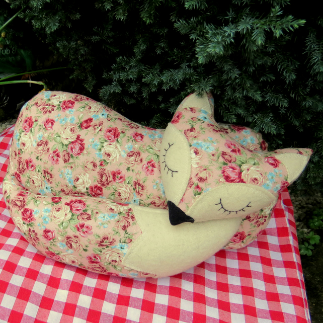 A fox cushion.  Snoozy fox pillow.  15.5 inches in length.  (39.5cm)