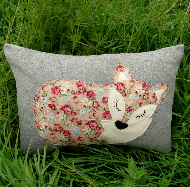 Fox cushion. A floral fox on grey wool. Complete with feather pad.  Fox pillow.