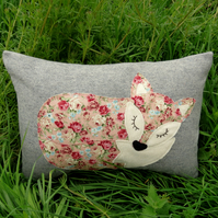 Fox cushion.  Sale!   A floral fox on grey wool. Complete with feather pad..