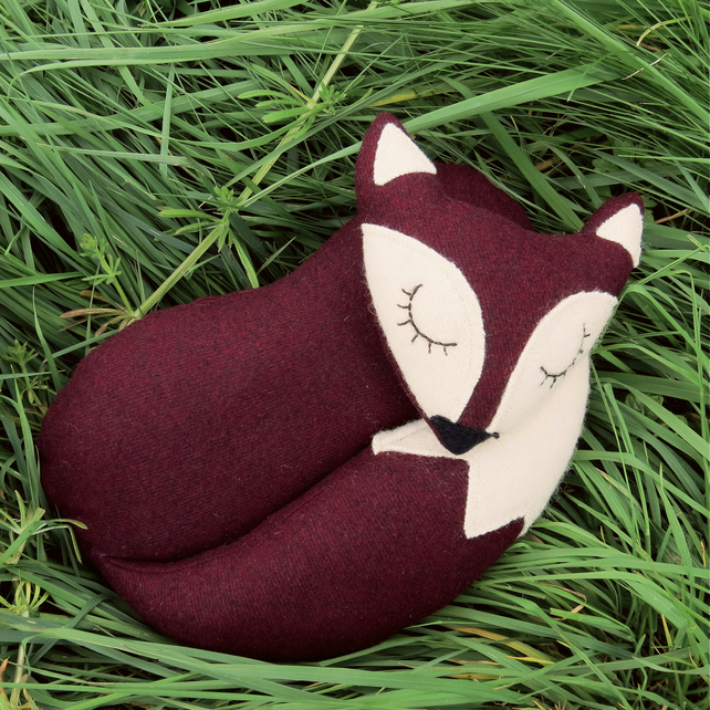 A fox doorstop.  A snoozy fox made from aubergine wool.  Fox decor.