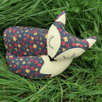 Fox doorstop.  A floral fox doorstop.  Fox decor.