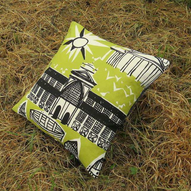 A cushion made from a vibrant Marimekko  fabric. Complete with feather pad.