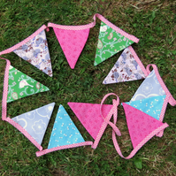 Summer bunting.  230cm long.  Double sided fabric bunting.