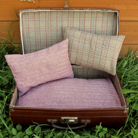 A quirky pet bed, made from a vintage 1950s suitcase.  Cat bed.  Small dog bed.
