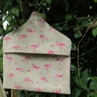 Flamingos.  A peg bag with a flamingos design.  Peg storage.
