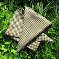 A dog bandana.  Size small.  53cm x 22.5cm.  Fine tweed wool.