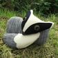 Badger doorstop.  A tactile badger doorstop.  Woodland decor.