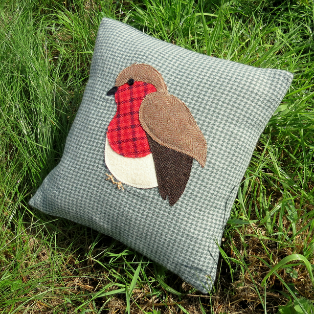 Robin cushion. SALE!   Made from wool and tweed.  With feather pad.