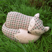 A fox cushion.  Made from vintage wool and mohair.  Fox pillow.