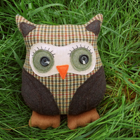A tweed owl cushion. Pure new wool.  14 inches tall.  Owl pillow.
