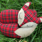 Fox doorstop.  A tartan fox with velvet accents.  Fox decor.