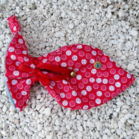 Pet stocking.  A Christmas stocking for a cat or kitten.  Fish shaped stocking.