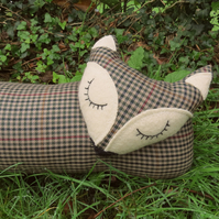 Fox draught excluder.  Fine check wool.  Winter decor.  102cm in length.