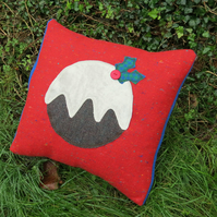 Christmas Cushion.  Christmas Pudding cushion.  With feather pad.