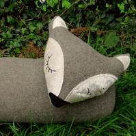 Fox draught excluder.  Grey wool and velvet.  Winter decor.  99cm in length.