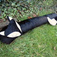 Black Fox. A velvet fox draught excluder. 102cm in length. Fox draft excluder.