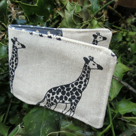 Oyster card holder. Travelcard Sleeve. A card holder with a giraffes design.