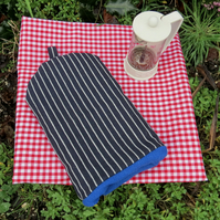Cafetiere cosy. Size small, to fit a 2 cup cafetiere. Pinstripe coffee cover.