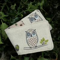 A Travel card holder. Oyster card wallet.  Owls design.