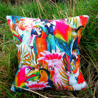 Tropical Decor.  A rainforest cushion, complete with feather pad.