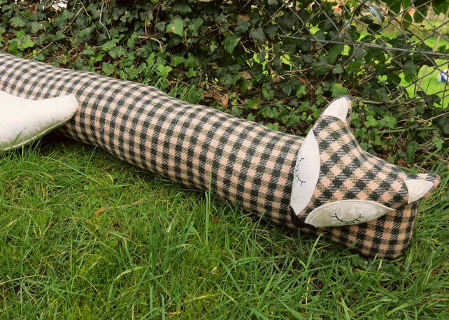 Fox draught excluder.  Check wool and velvet.  Winter decor.  100cm in length.
