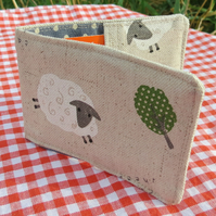 Travelcard Sleeve.  Sheep design.  Oyster Card Holder.