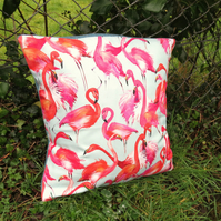 Flamingos.  A flamingos cushion complete with feather pad.  Tropical decor.