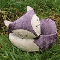 Velvet Fox.  A snoozy fox doorstop.  Lilac Fox.