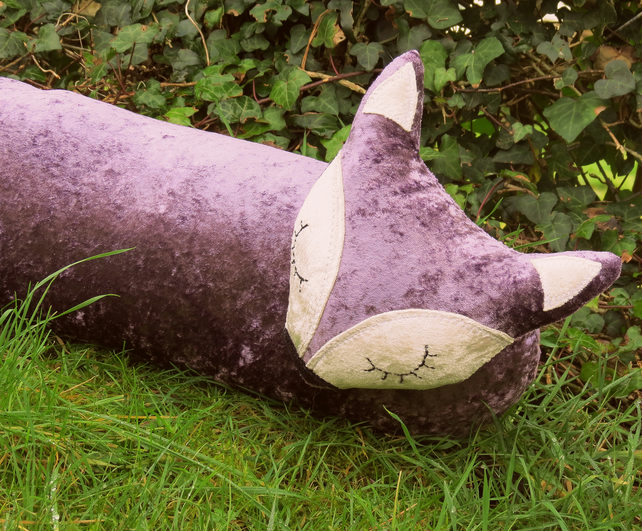 Purple Fox. A crushed velvet fox draught excluder. 109cm in length.