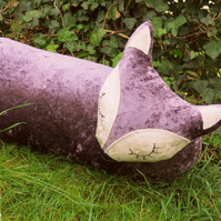 Fox draught excluder. A crushed velvet fox draught excluder. 109cm in length.