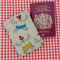 Chickens.  A passport sleeve with a chickens design.  Passport Cover.