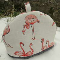 Coral Flamingos.  A tea cosy, size medium.  Flamingo tea cosy.