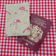 Pink flamingos.  A fabric passport sleeve.  Passport cover.