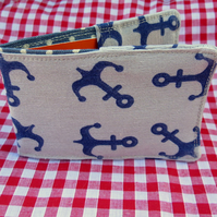 Travel card holder. Oyster card wallet. Nautical anchors design.