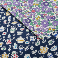 Handmade Scarf made from Liberty Lawn. Teapots and florals.  Double sided scarf.