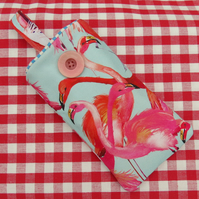 Sunglasses Pouch.  Glasses Sleeve.  Tropical Flamingos.
