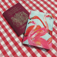 Flamingos.  A passport cover with a flamingos design.  Passport Sleeve.