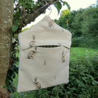 Hares. A peg bag with a hares design.  Peg Storage.