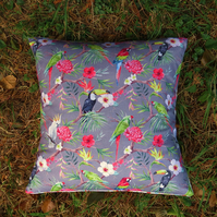 Tropical Cushion.  Toucans and Parrots.  Complete with feather pad.