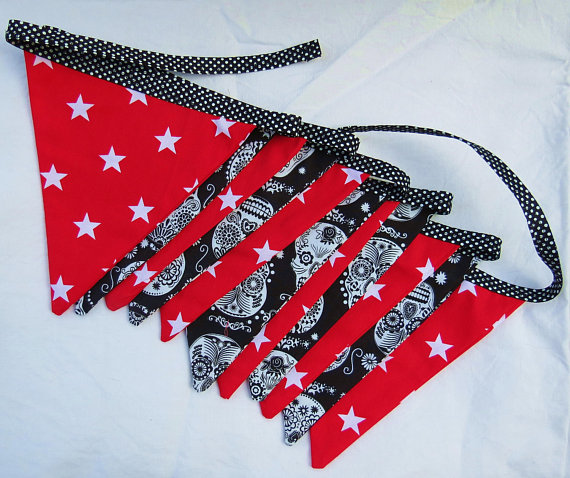 Fabric Bunting.  Skulls and Stars.  11 flags.  Pirate Decor.