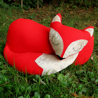 Red Fox.  A fox cushion made from red wool.  Fox Pillow.  40cm in length.
