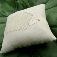 Pin Cushion.  A pin cushion with a hedgehog design.  12cm x 12cm.