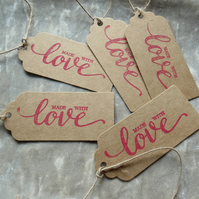 Gift tags.  Set of 5.  Handmade with Love.  Kraft tags.